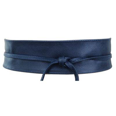 Cinto Faixa Obi de Couro Azul - 7 cm - Cintos Exclusivos - Feminino