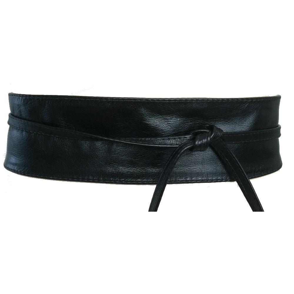 Cinto Faixa Obi de Couro na Cor Preto - 7cm - Cintos Exclusivos - Feminino