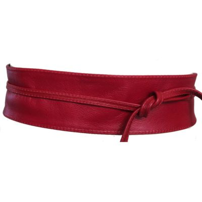 Cinto Faixa Obi de Couro na Cor Vermelho - 7cm - Cintos Exclusivos - Feminino