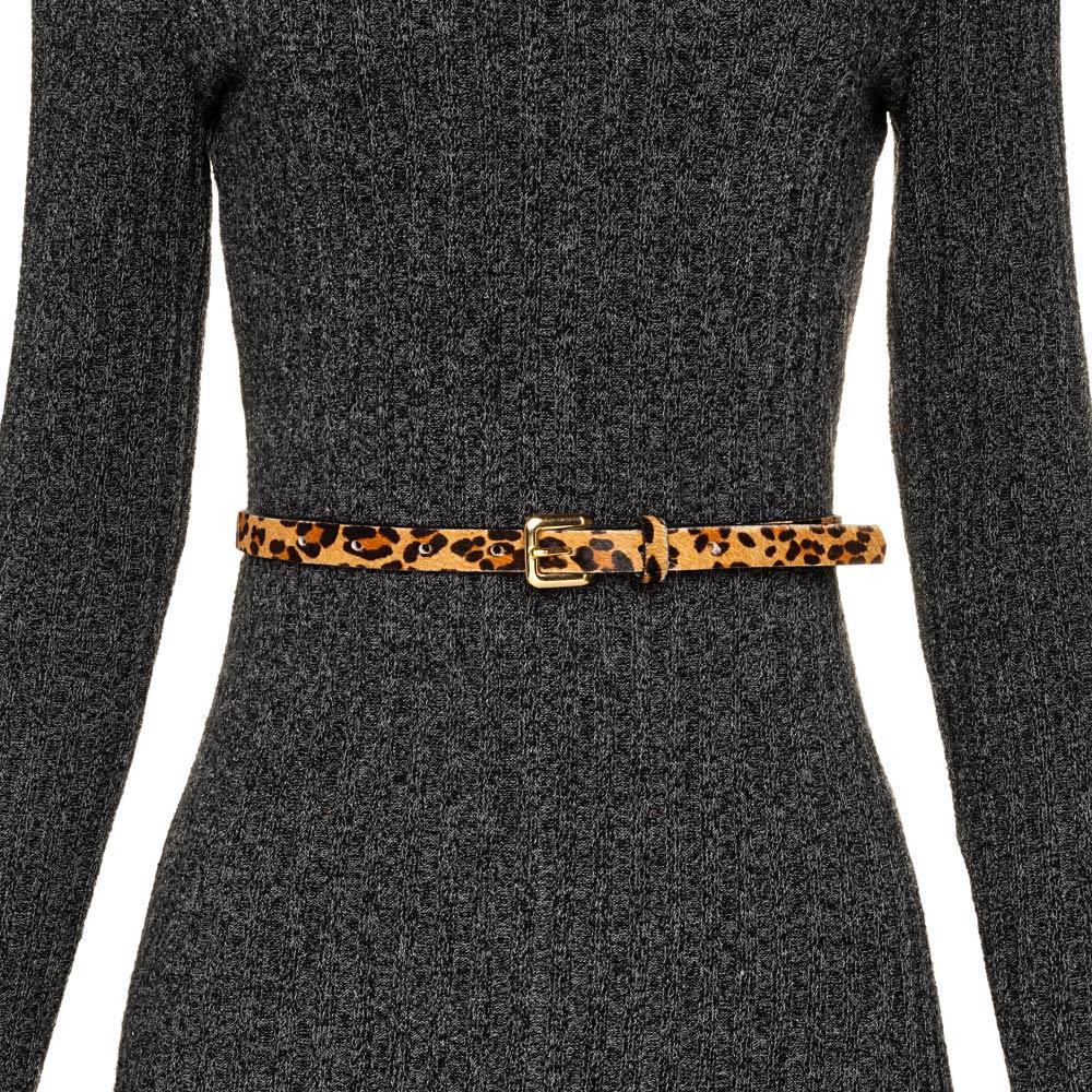 Cinto Fino de Couro  Animal Print Onça - 1,5cm - Cintos Exclusivos VC- Feminino