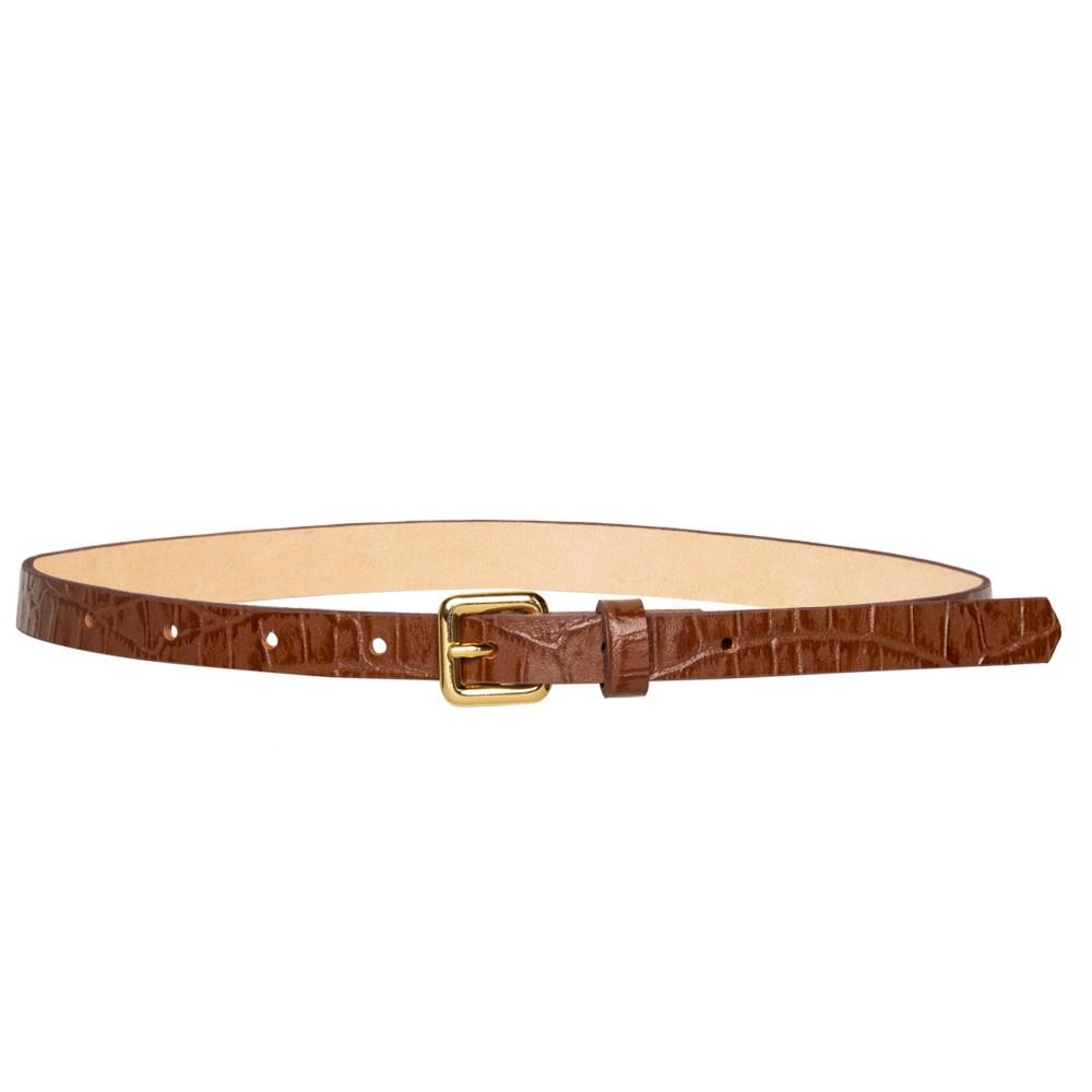Cinto Fino de Couro Caramelo - 1,5cm - Cintos Exclusivos - Feminino