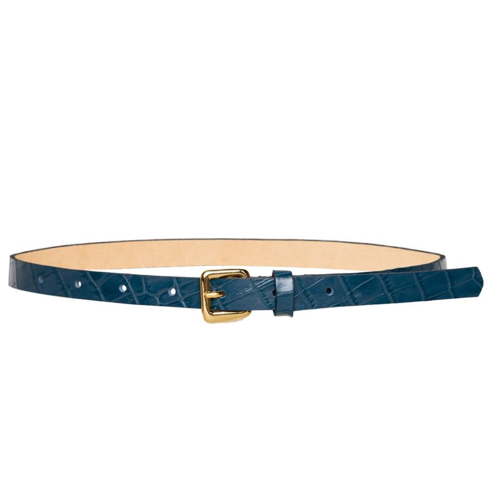 Cinto Fino de Couro Croco Azul - 1,5cm - Cintos Exclusivos - Feminino