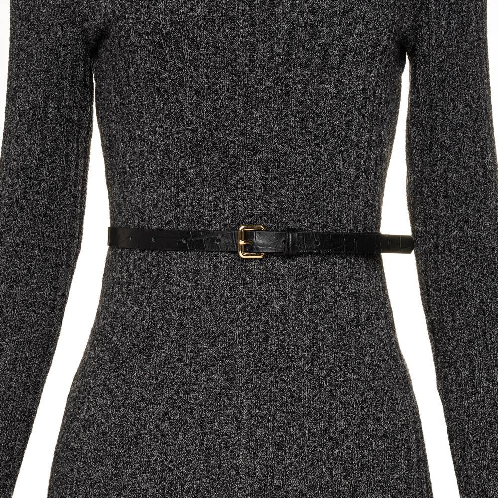 Cinto Fino de Couro Croco Preto - 1,5cm - Cintos Exclusivos - Feminino