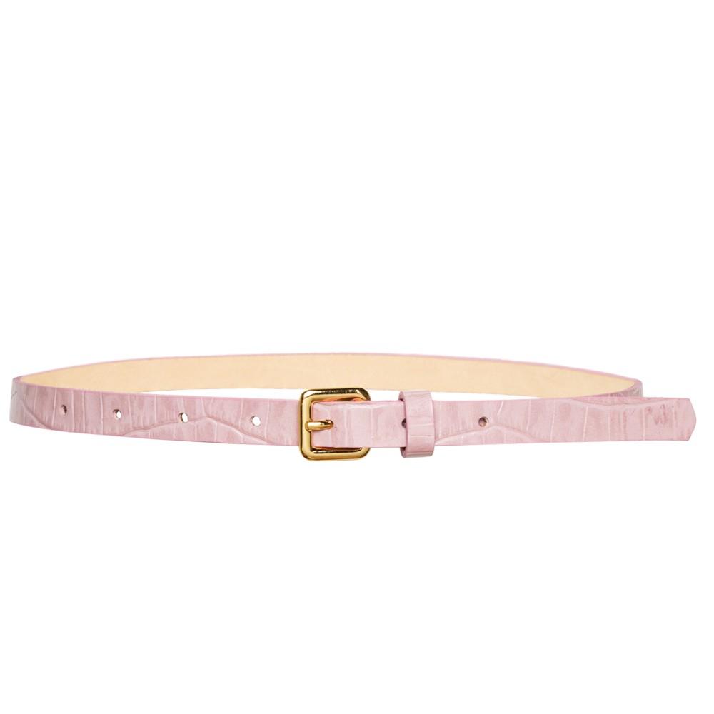 Cinto Fino de Couro Croco Rosa - 1,5cm - Cintos Exclusivos - Feminino