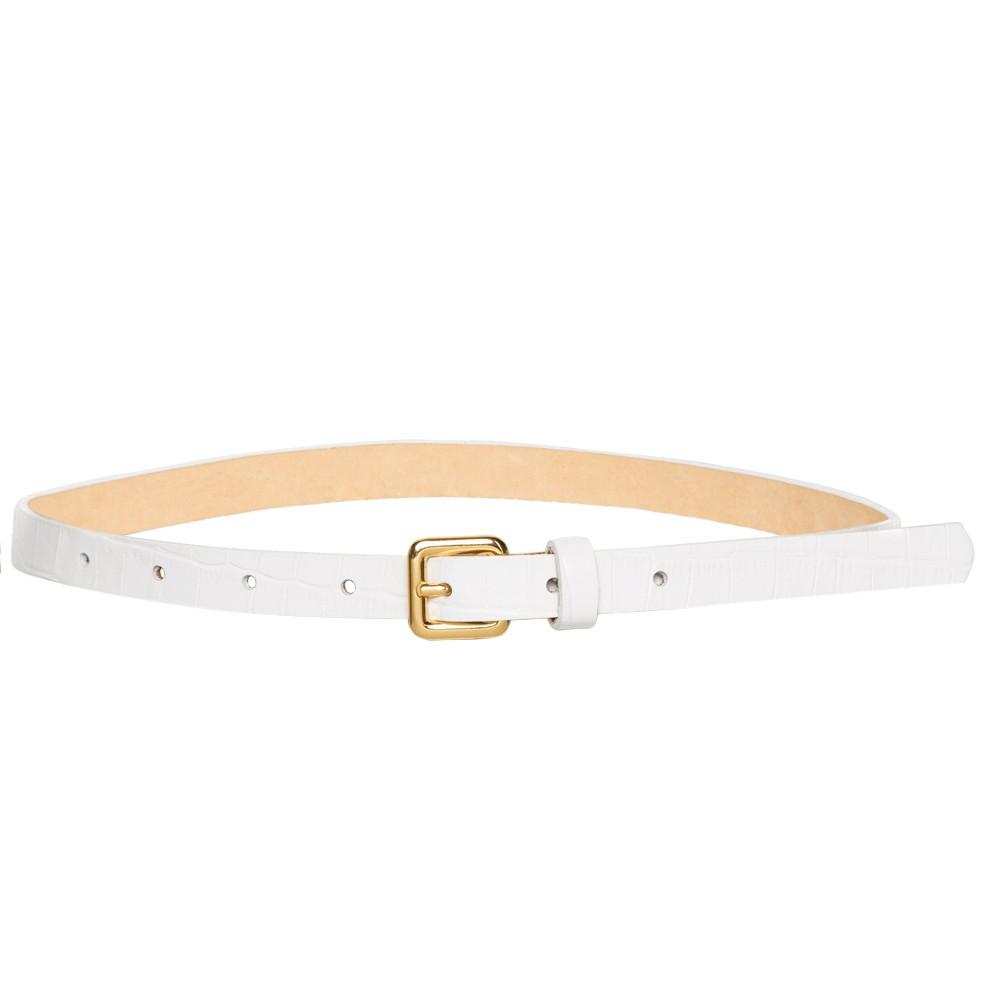 Cinto Fino de Couro Croco Branco - 1,5cm - Cintos Exclusivos - Feminino