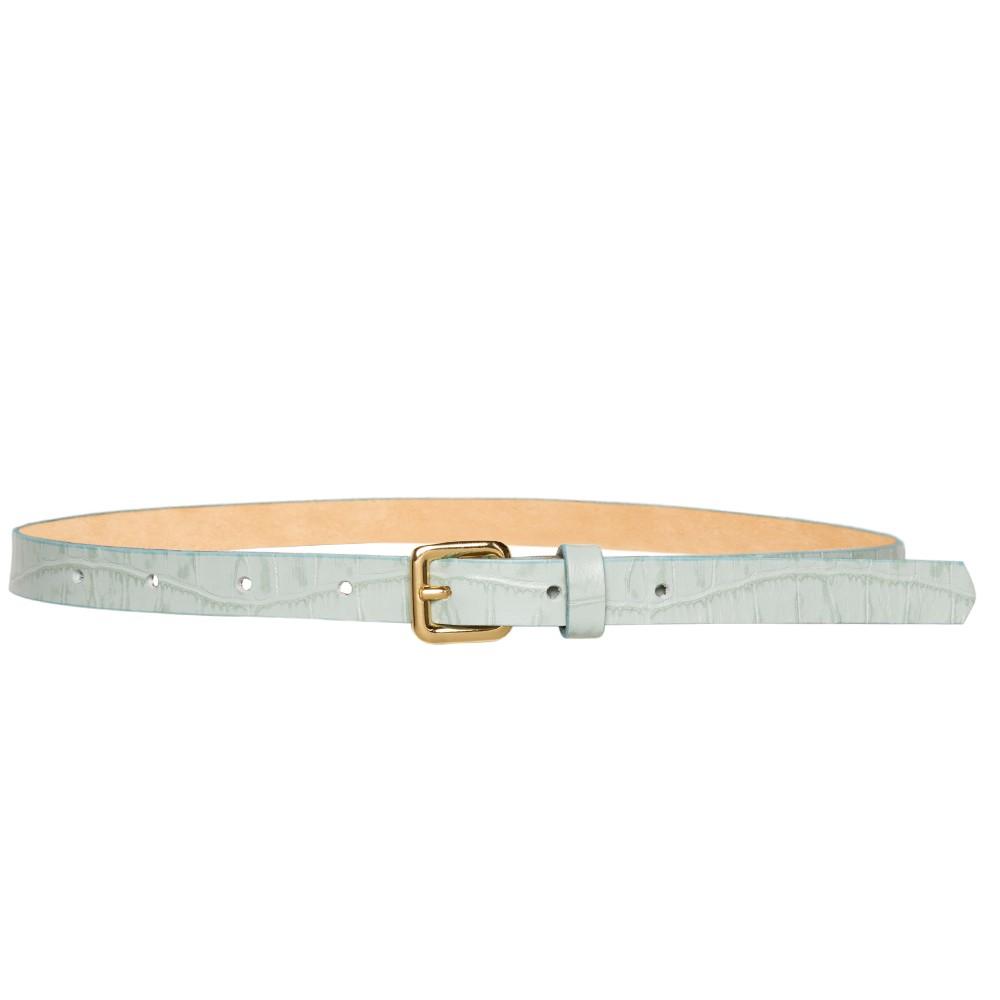 Cinto Fino de Couro Croco Verde - 1,5cm - Cintos Exclusivos - Feminino