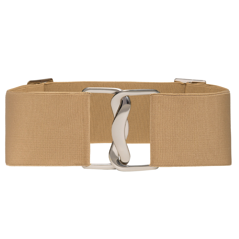 Cinto Largo de Elástico Bege Ajustável com Regulagem e Fivela  Prata - Cintos Exclusivos - Feminino