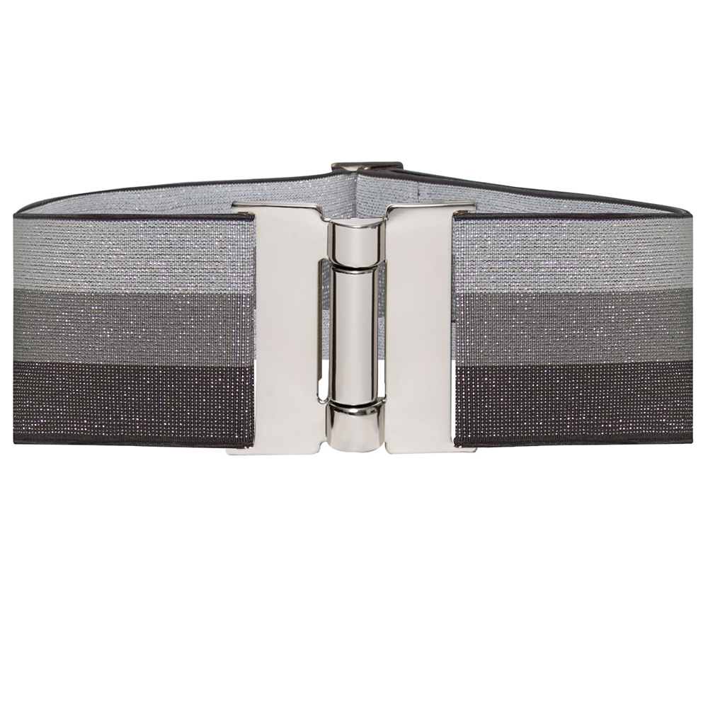 Cinto  Largo de Elástico Cinza com lurex  Ajustável com Regulagem e Fivela Prata  - Cintos Exclusivos - Feminino