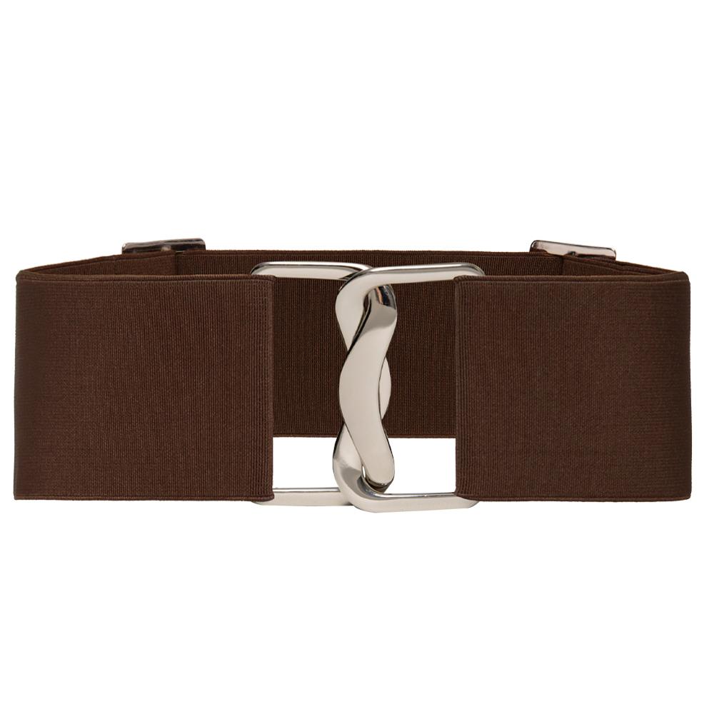 Cinto Largo de Elástico Marrom Ajustável com Regulagem e Fivela  Prata - Cintos Exclusivos - Feminino