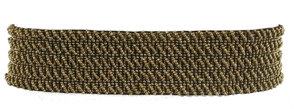 Cinto Miçanga Dourado Trançado no Elástico - Cintos Exclusivos - Feminino