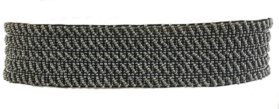 Cinto Miçanga Prata Trançado no Elástico  - Cintos Exclusivos - Feminino
