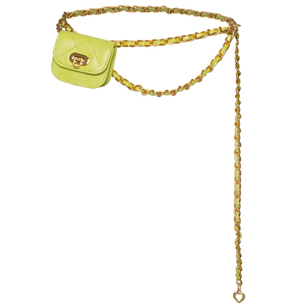 Cinto Pochete Corrente com Couro Entrelaçado Verde - 1,0cm - Feminino