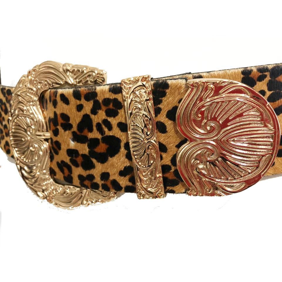 Cinto Premium de Couro Max Pelo Onça com fivela e ponteira dourada - 6,0 - cm - Cintos Exclusivos - Feminino