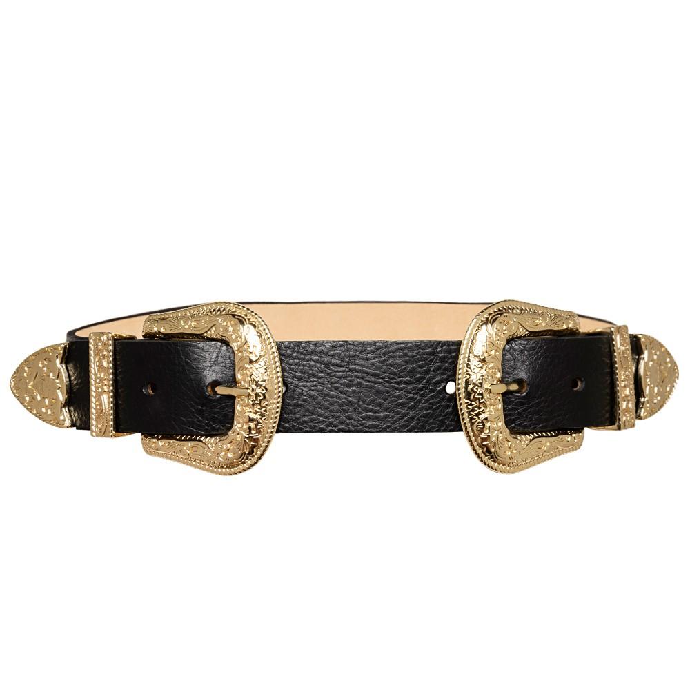 Cinto Preto de Couro com Duas Fivelas Douradas Western  - 3,5 cm - Cintos Exclusivos VC- Feminino