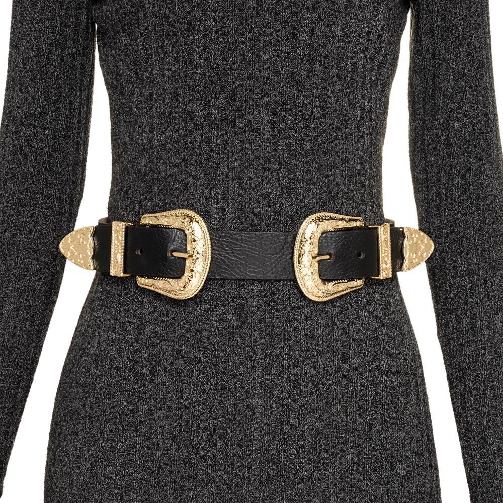Cinto Preto de Couro com Duas Fivelas Douradas Western  - 3,5 cm - Cintos Exclusivos - Feminino