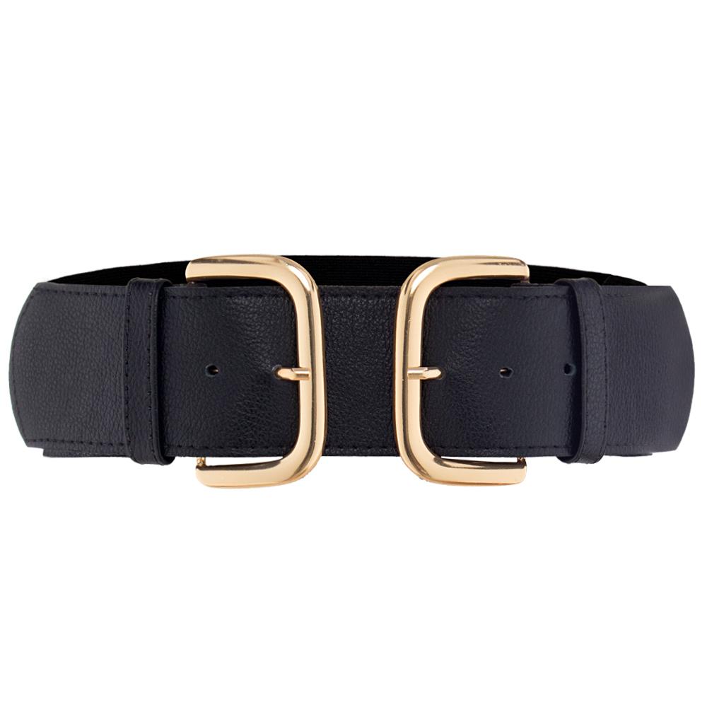 Cinto Preto de Couro com Duas Fivelas Douradas Western e parte de trás com elástico - 6 cm - Cintos Exclusivos VC- Feminino