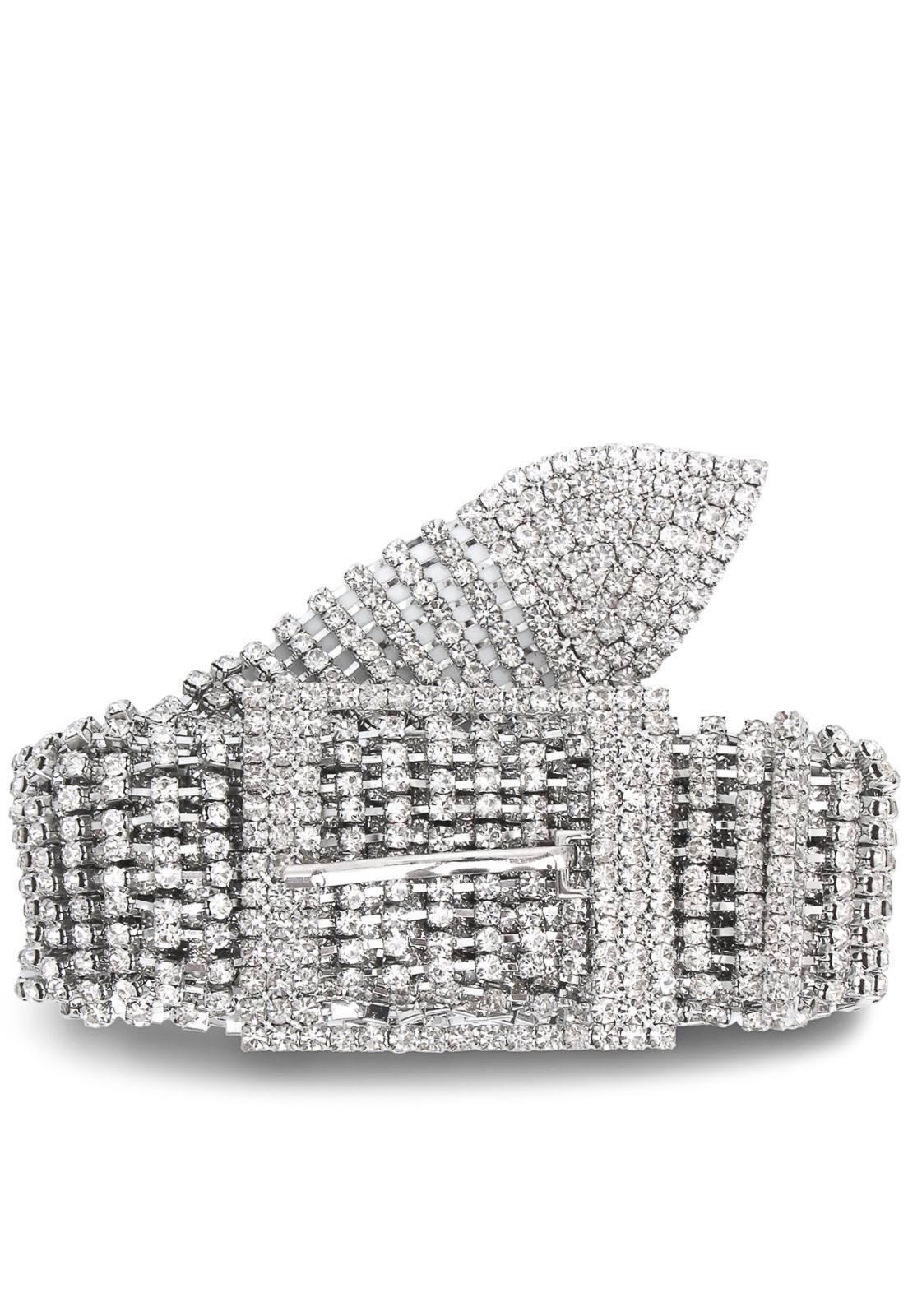 Cinto Strass Prata  - 3 cm - Cintos Exclusivos - Feminino