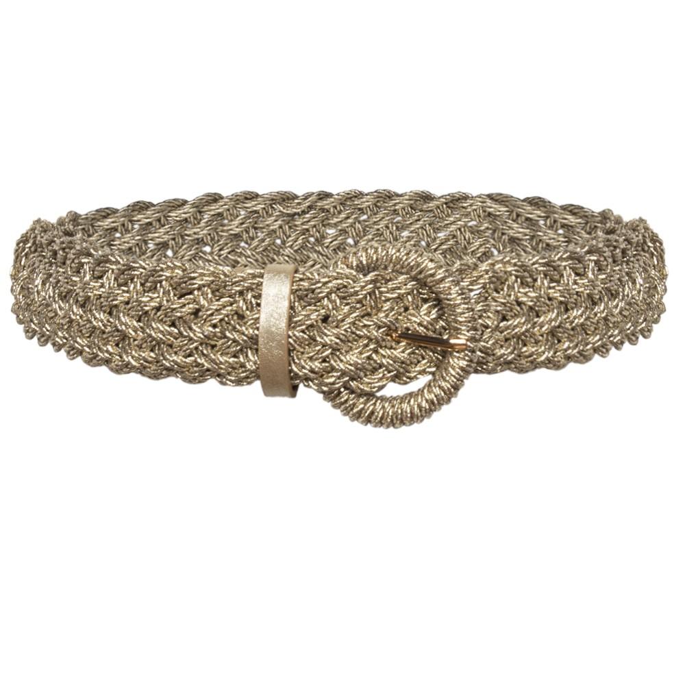 Cinto Trançado de Macramê Dourado Metalizado - 4,5 cm - Cintos Exclusivos - Feminino