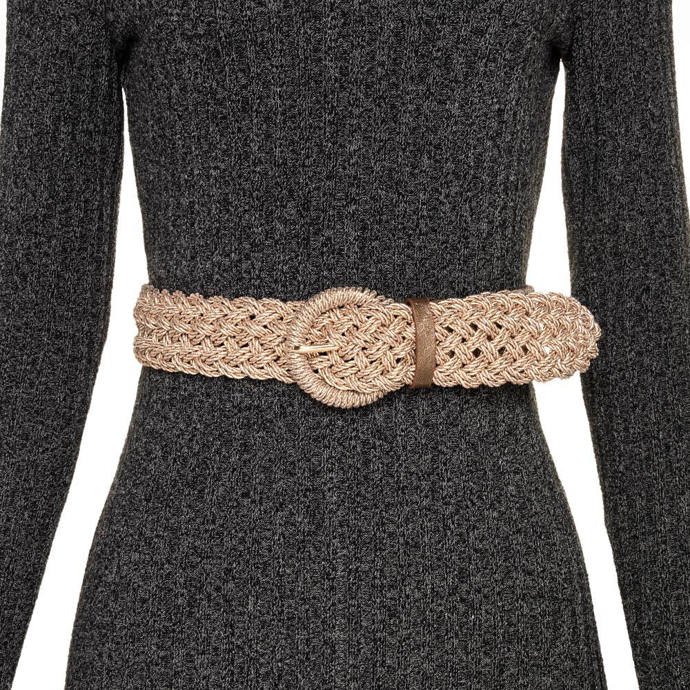 Cinto Trançado de Macramê Rose Metalizado - 4,5 cm - Cintos Exclusivos - Feminino