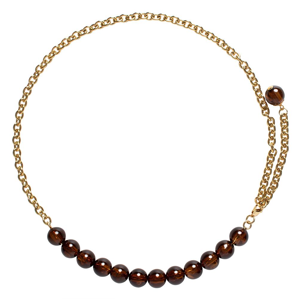 Corrente de Metal Dourado com esferas marrom - Linha Premium VC- Feminino
