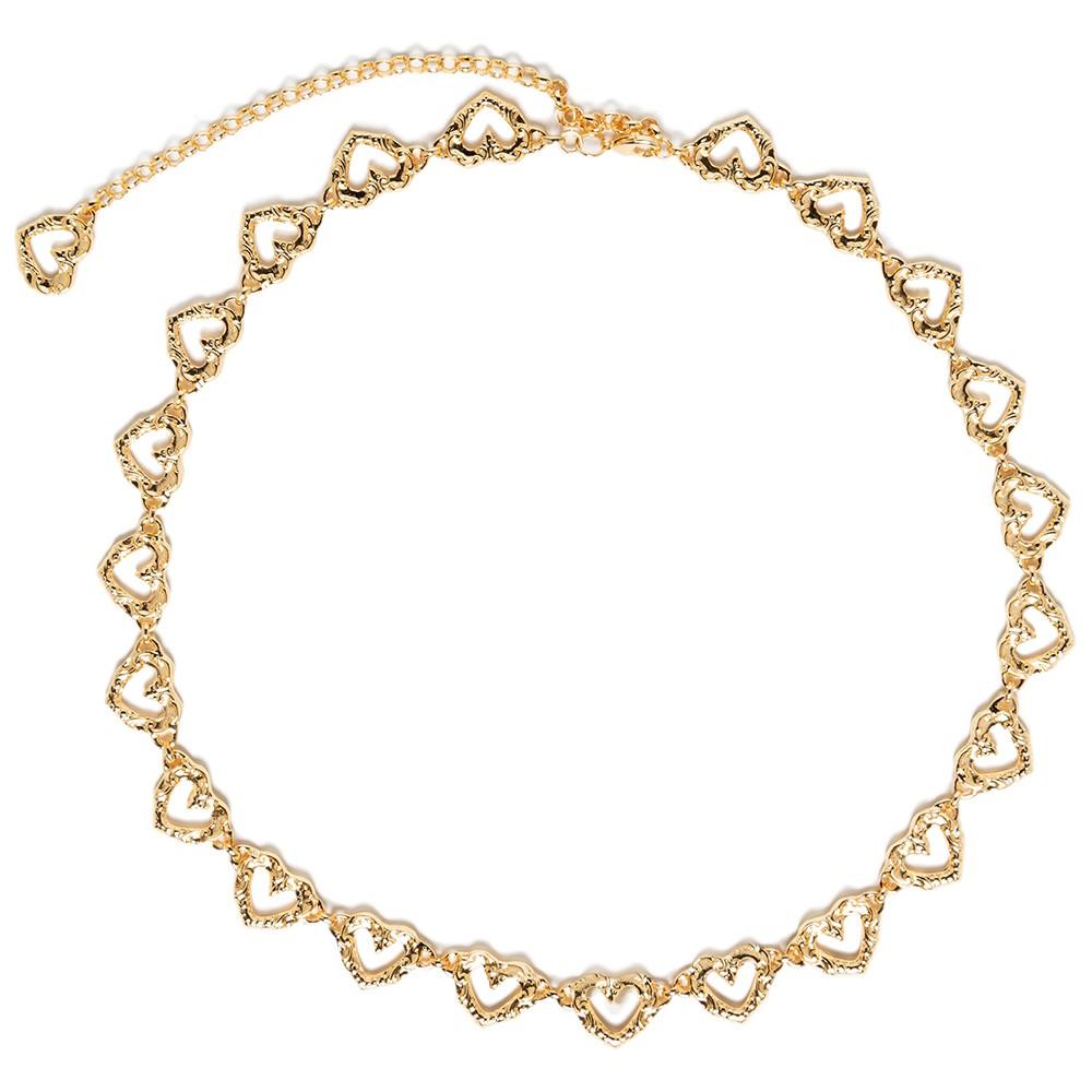 Corrente de Metal Dourado Coração Trend - Linha Premium VC- Feminino