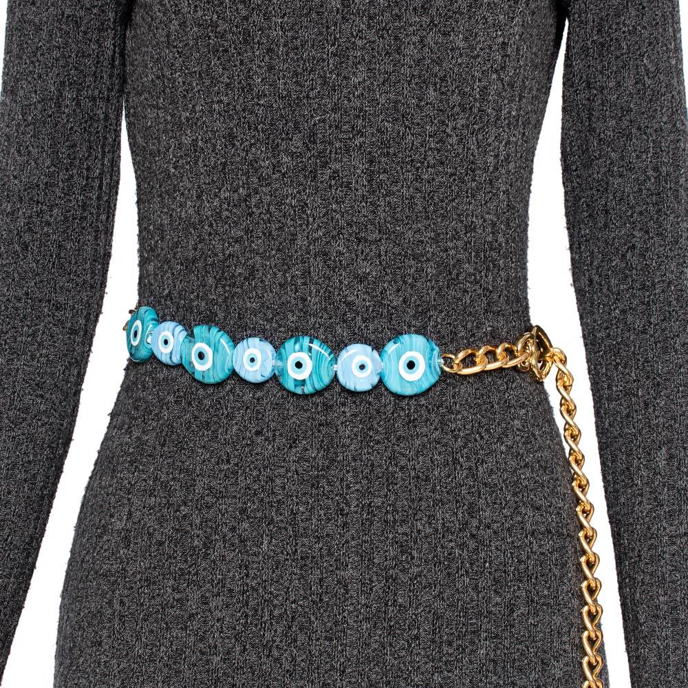 Corrente de Metal Proteção Olho Grego Azul Claro   - Cintos Exclusivos - Feminino