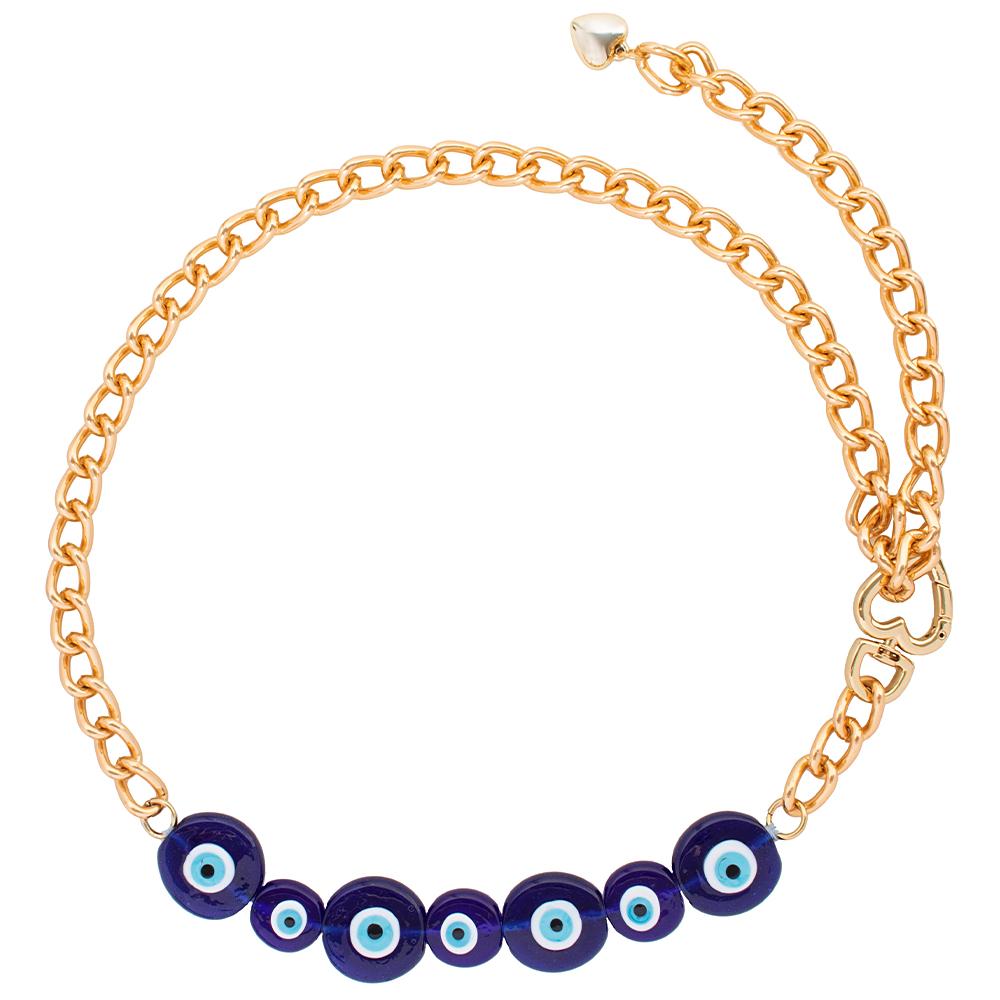 Corrente de Metal Proteção Olho Grego Azul Escuro   - Cintos Exclusivos - Feminino