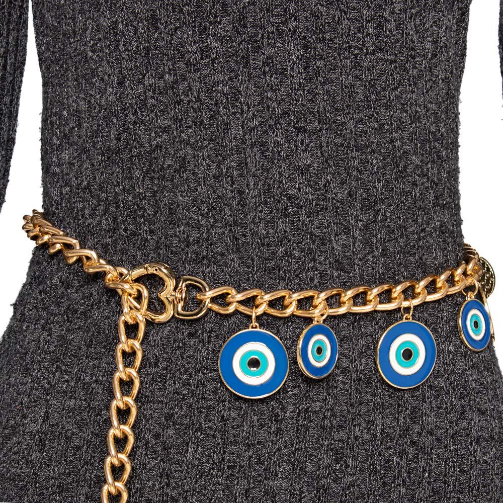 Corrente de Metal Proteção Olho Grego  - Cintos Exclusivos - Feminino
