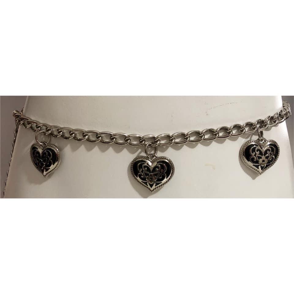 Corrente  de Metal Prata Coração - Cintos Exclusivos - Feminino