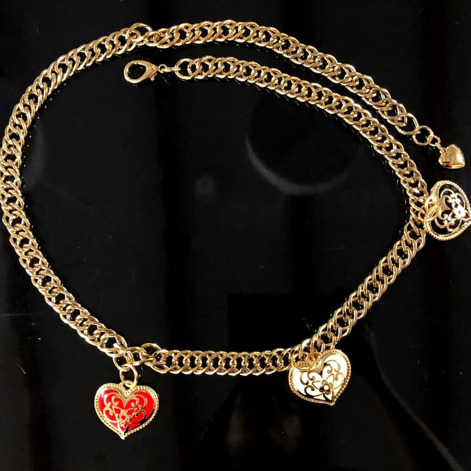 Corrente Dupla de Metal Dourado Coração - Cintos Exclusivos - Feminino