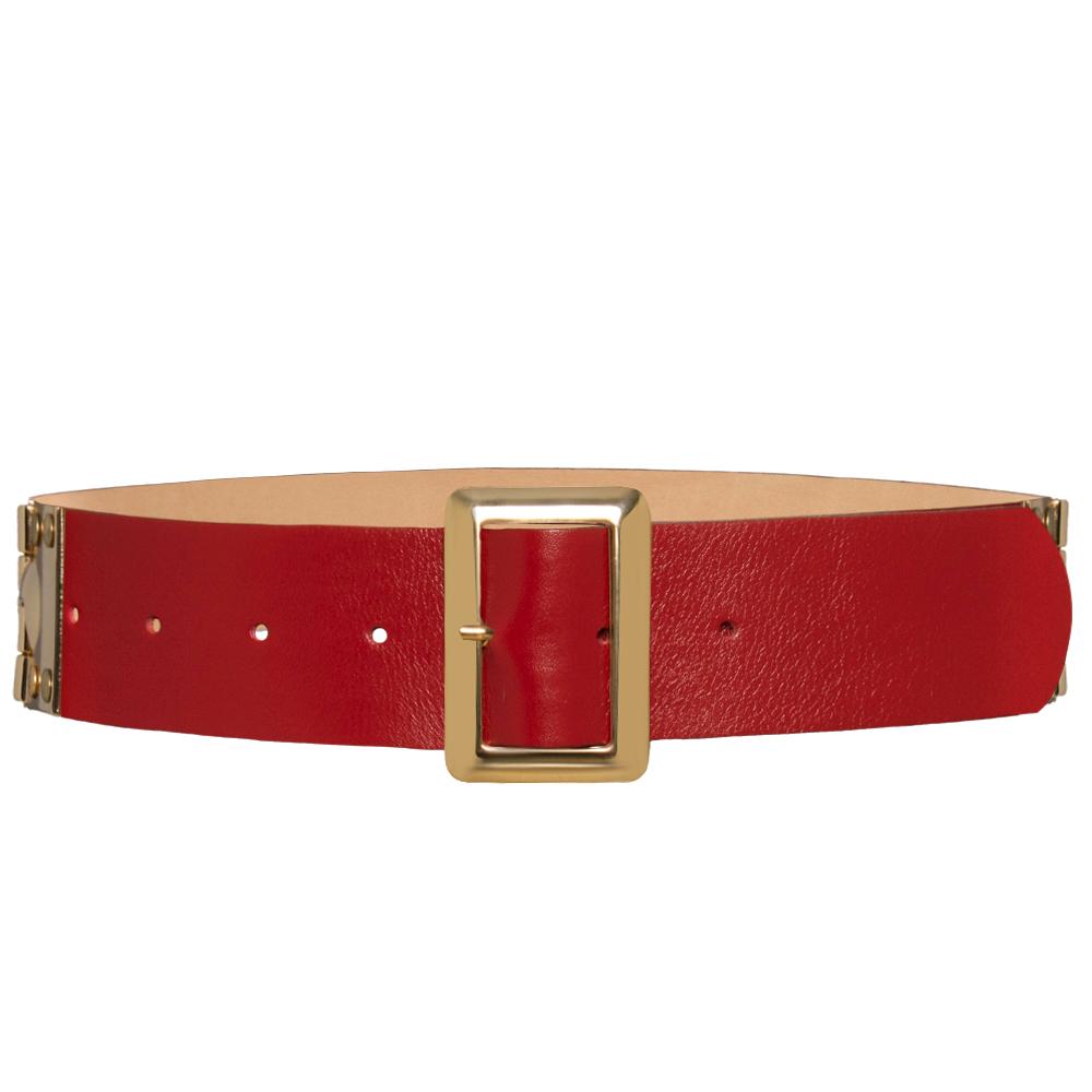 Edição Limitada - Cinto de Couro Vermelho com fivela dourada - 4,5 - cm - Linha Premium VC - Feminino