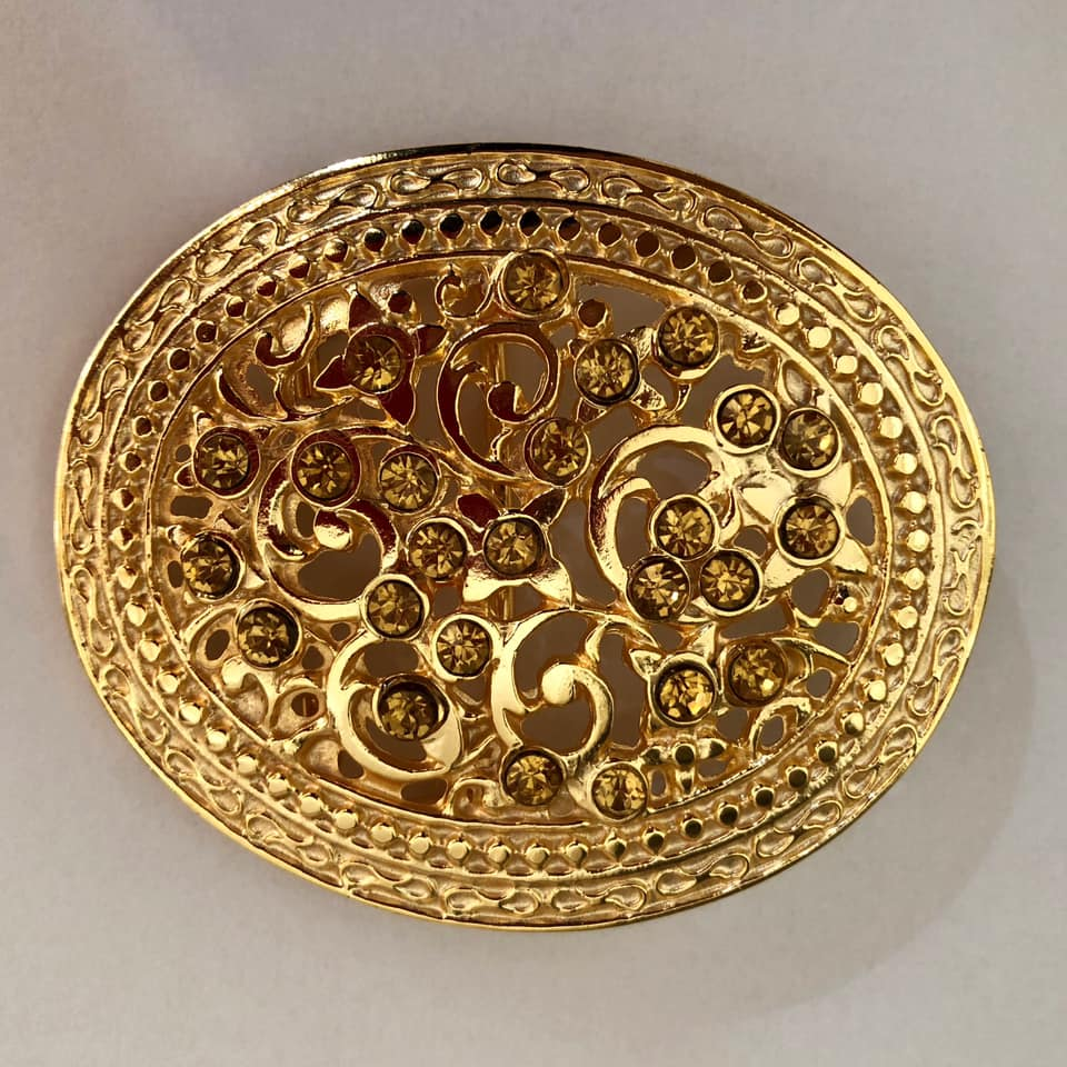 Fivela Dourada com Strass- Cintos Exclusivos - Feminino