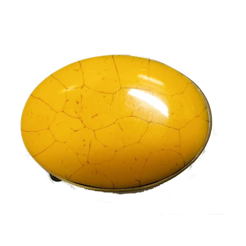 Fivela  em Ouro Velho com Pedra Amarela - Cintos Exclusivos - Feminino