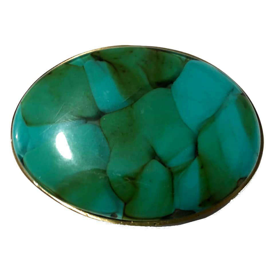Fivela  em Ouro Velho com Pedra Turquesa - Cintos Exclusivos - Feminino