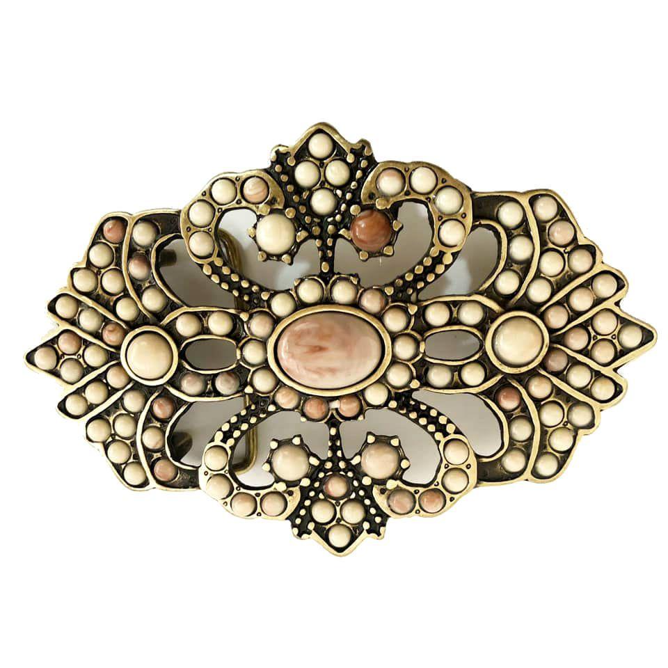 Fivela  em Ouro Velho com Pedras  - Cintos Exclusivos - Feminino