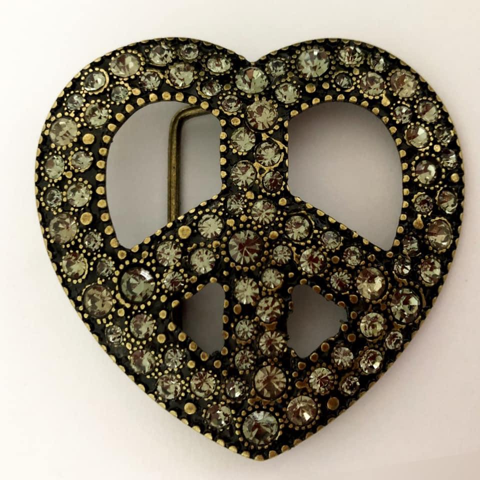 Fivela  em Ouro Velho com Strass Black Diamond - Cintos Exclusivos - Feminino