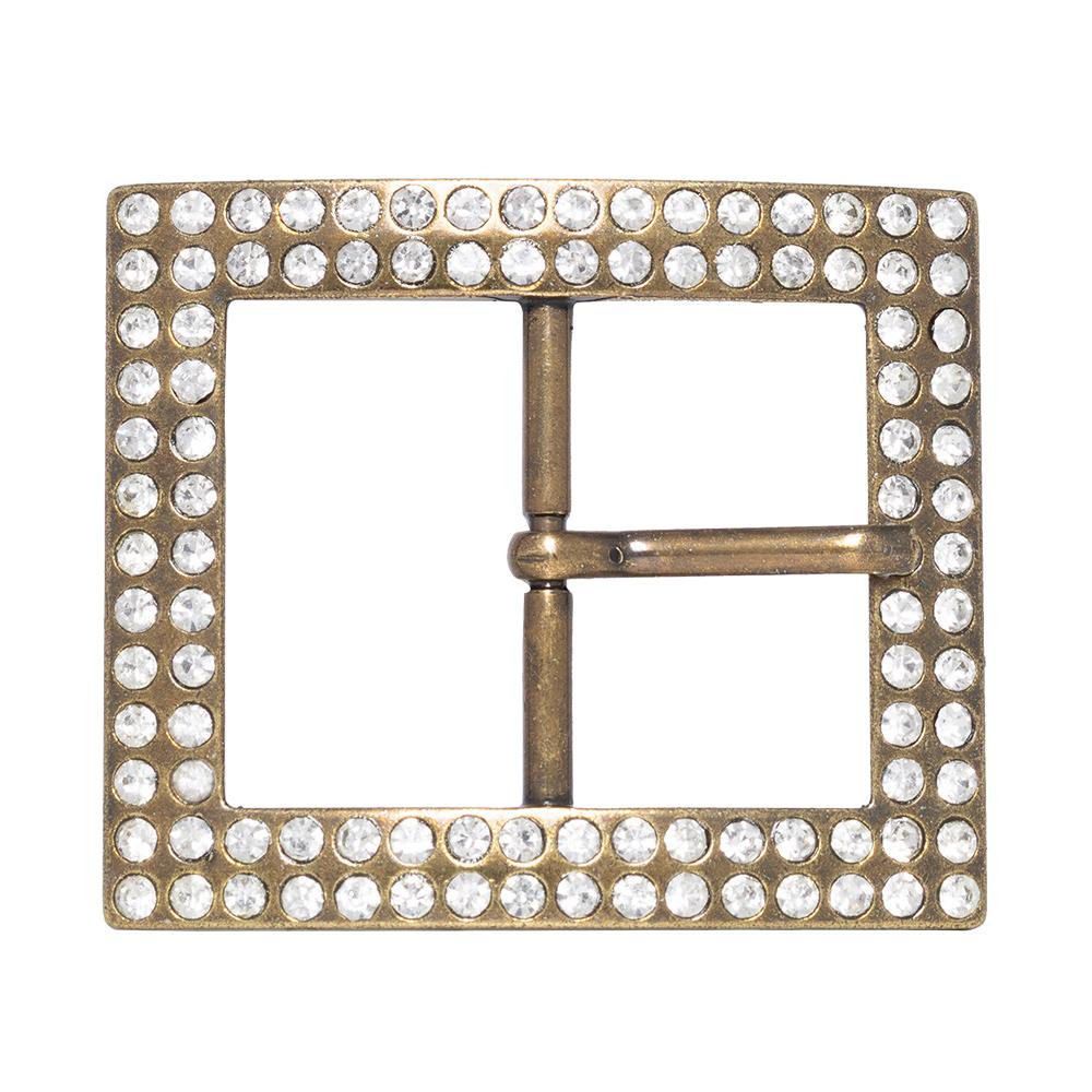 Fivela  em Ouro Velho com Strass  - Cintos Exclusivos - Feminino