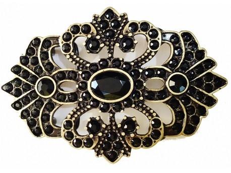 Fivela  em Ouro Velho com Strass Preto  - Cintos Exclusivos - Feminino