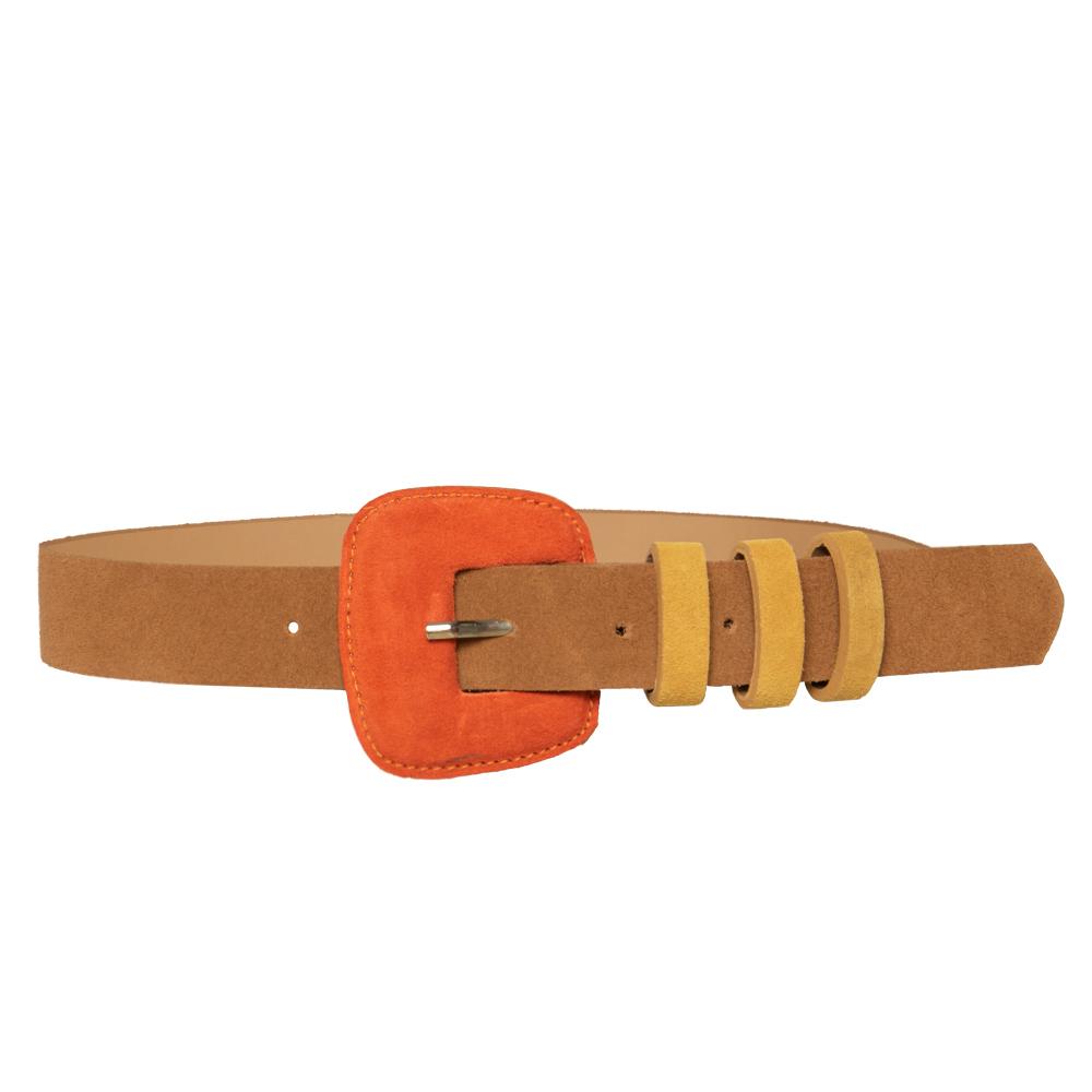 Lançamento - Cinto de Camurça Caramelo fino com fivela encapada - 3,0- cm