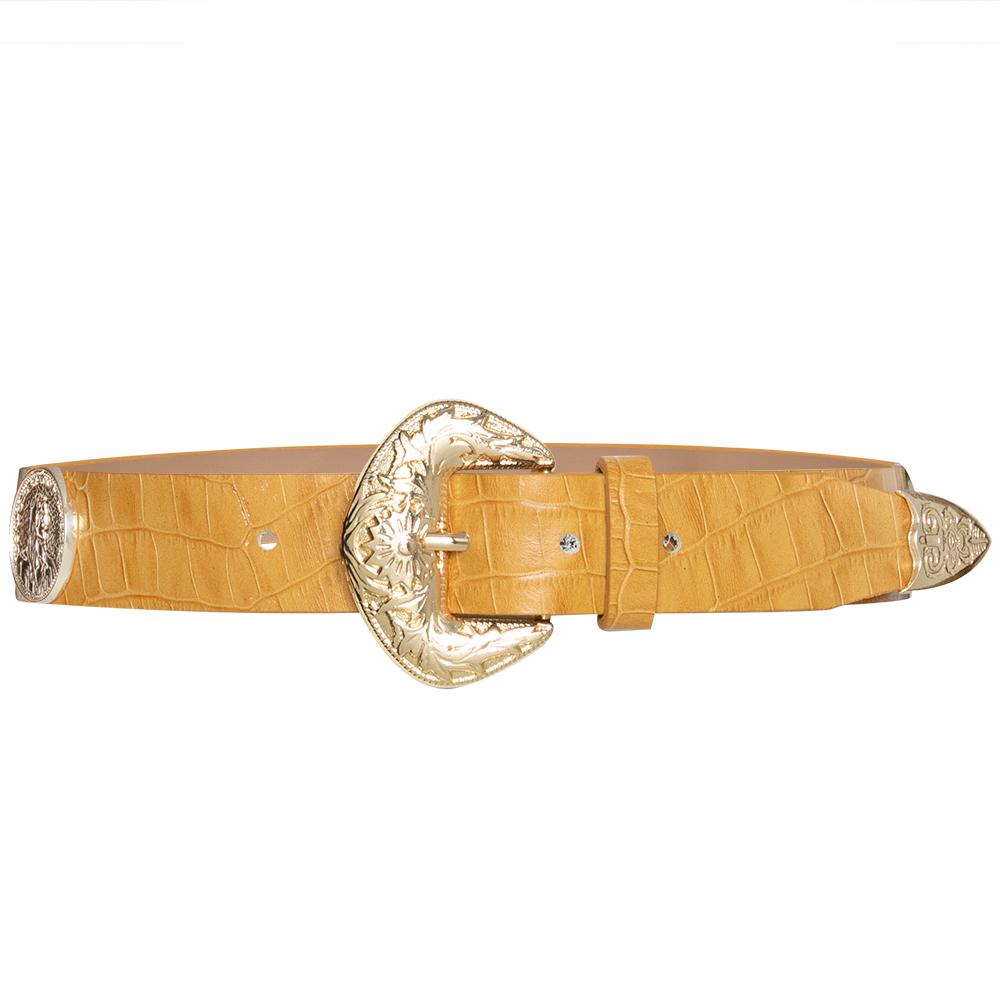 Lançamento - Cinto de Couro Amarelo  com apliques dourado de medalha Trend  - 3,5cm - Feminino