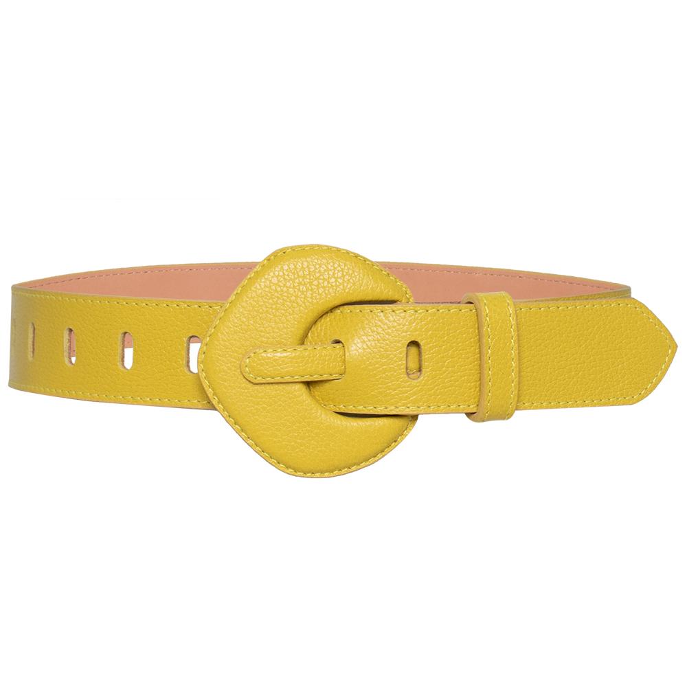 Lançamento - Cinto de Couro Amarelo com fivela pentágono encapada - 4 - cm - Linha Premium VC - Feminino