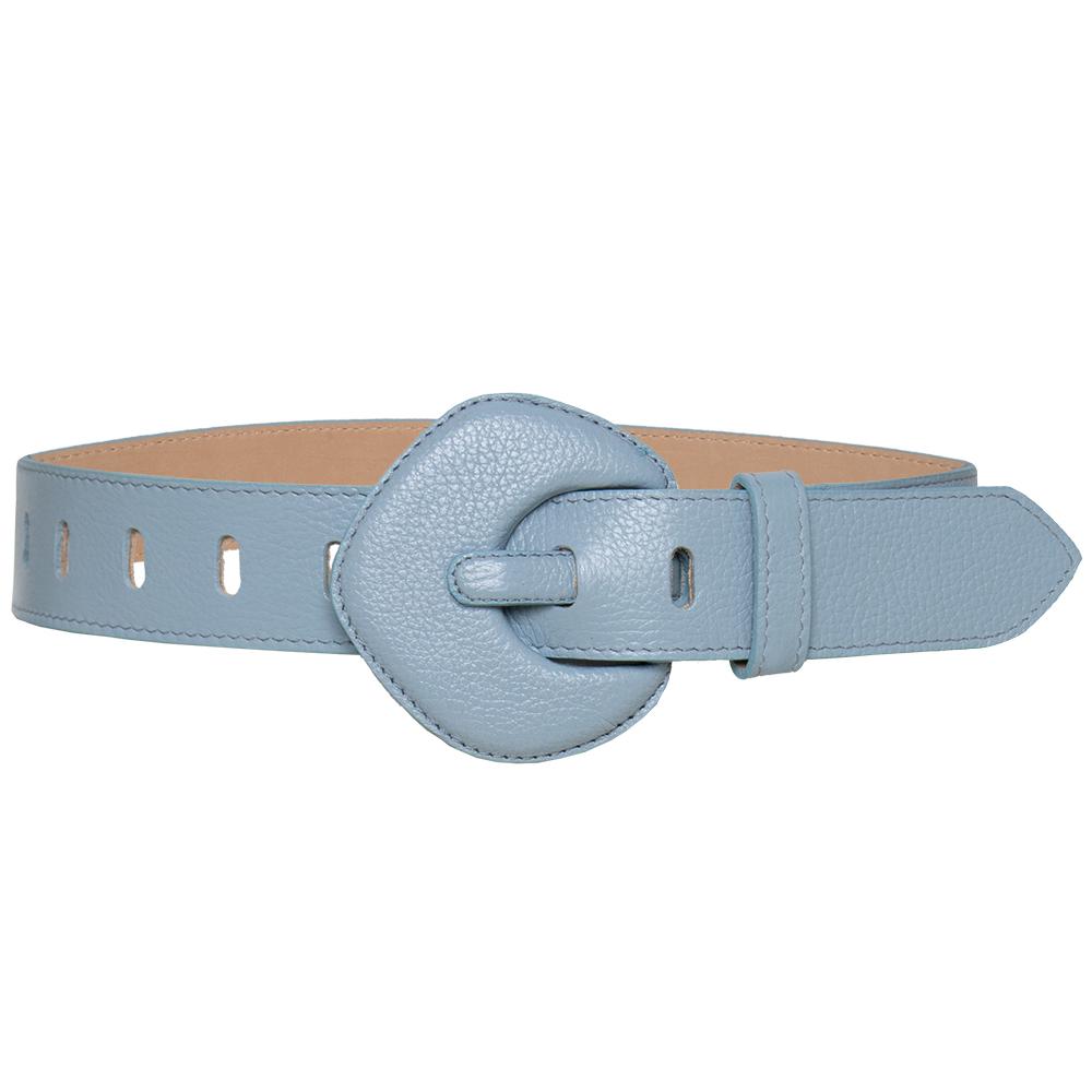 Lançamento - Cinto de Couro Azul  com fivela pentágono encapada - 4 - cm - Linha Premium VC - Feminino