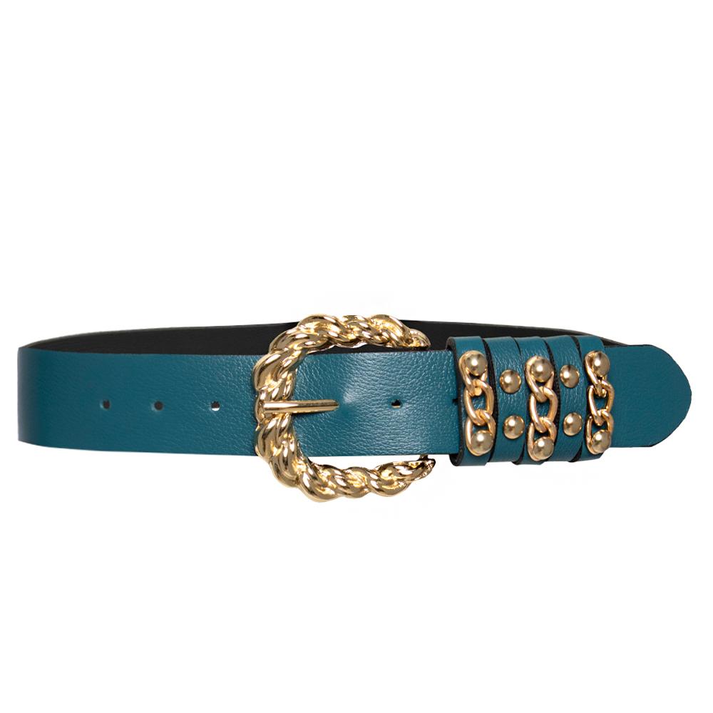 Lançamento - Cinto de Couro Azul com Fivela Robusta Entrelaçada Dourada   com - 3,5 cm  - Feminino