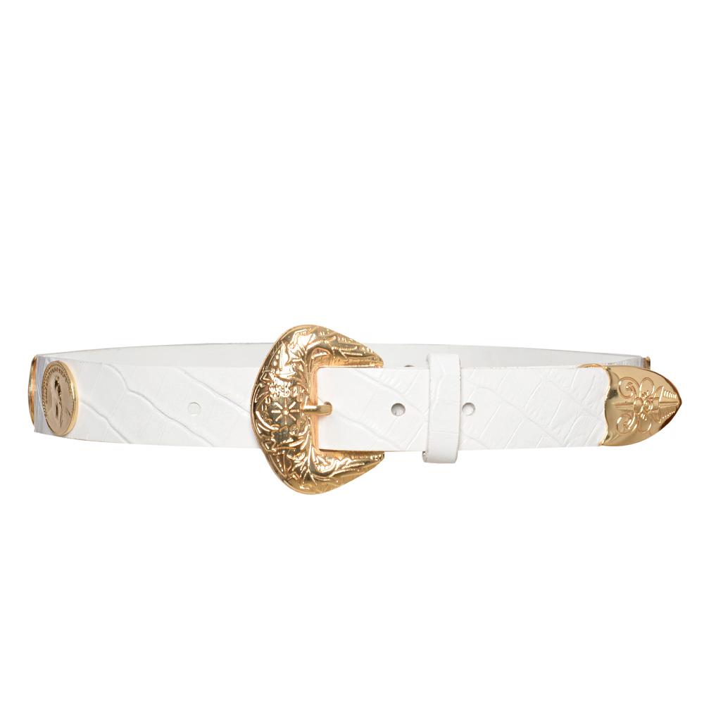 Lançamento - Cinto de Couro branco  com apliques dourado de medalha   - 3cm - Feminino