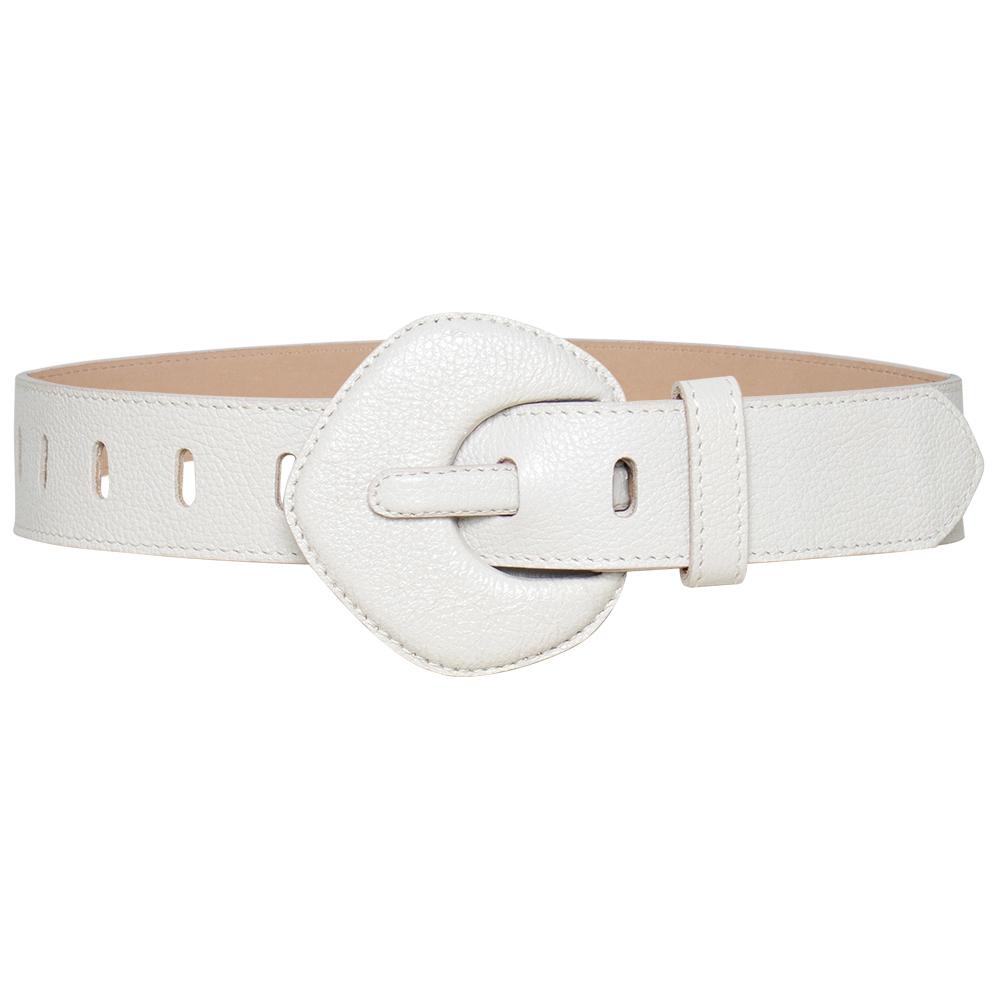 Lançamento - Cinto de Couro Branco Off com fivela pentágono encapada - 4 - cm - Linha Premium VC - Feminino