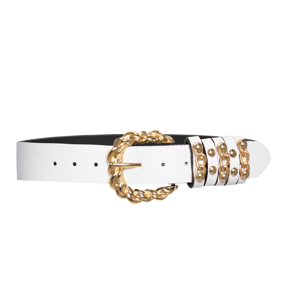Lançamento - Cinto de Couro Branco com Fivela Robusta Entrelaçada Dourada   com - 3,5 cm  - Feminino