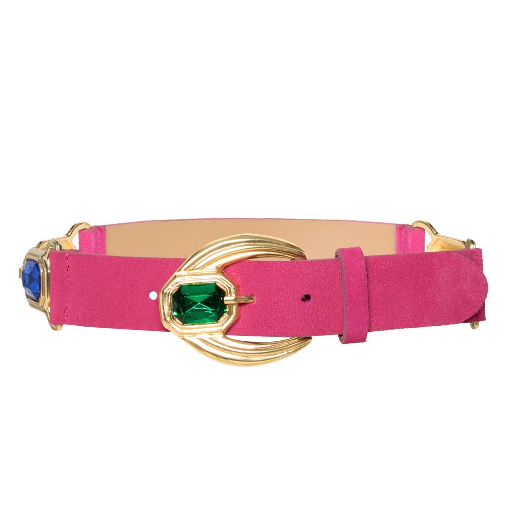 Lançamento - Cinto de Couro Camurça Pink com detalhe na fivela e nas laterais - arabesco  - 4,0- cm