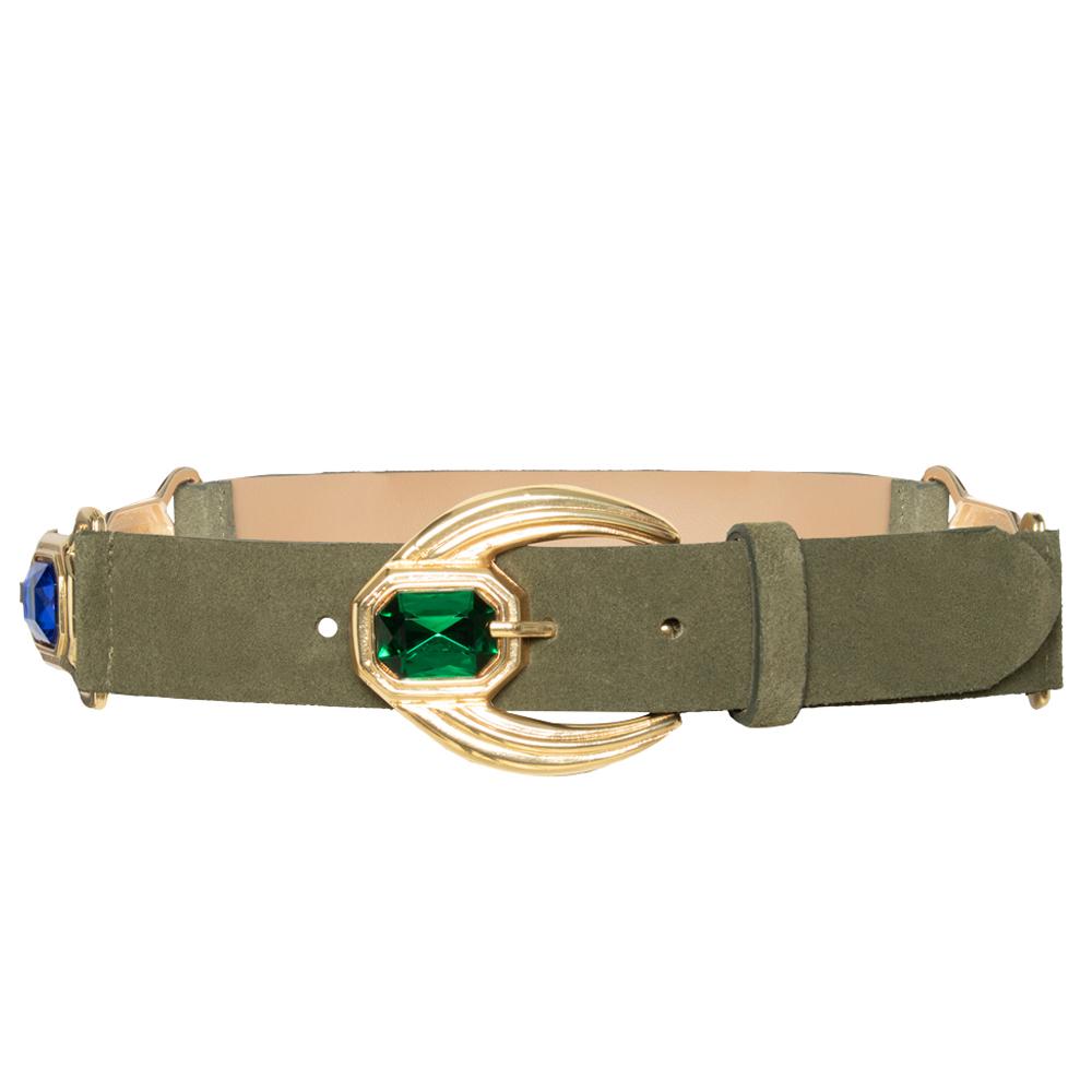 Lançamento - Cinto de Couro Camurça Verde com detalhe na fivela e nas laterais - arabesco  - 4,0- cm