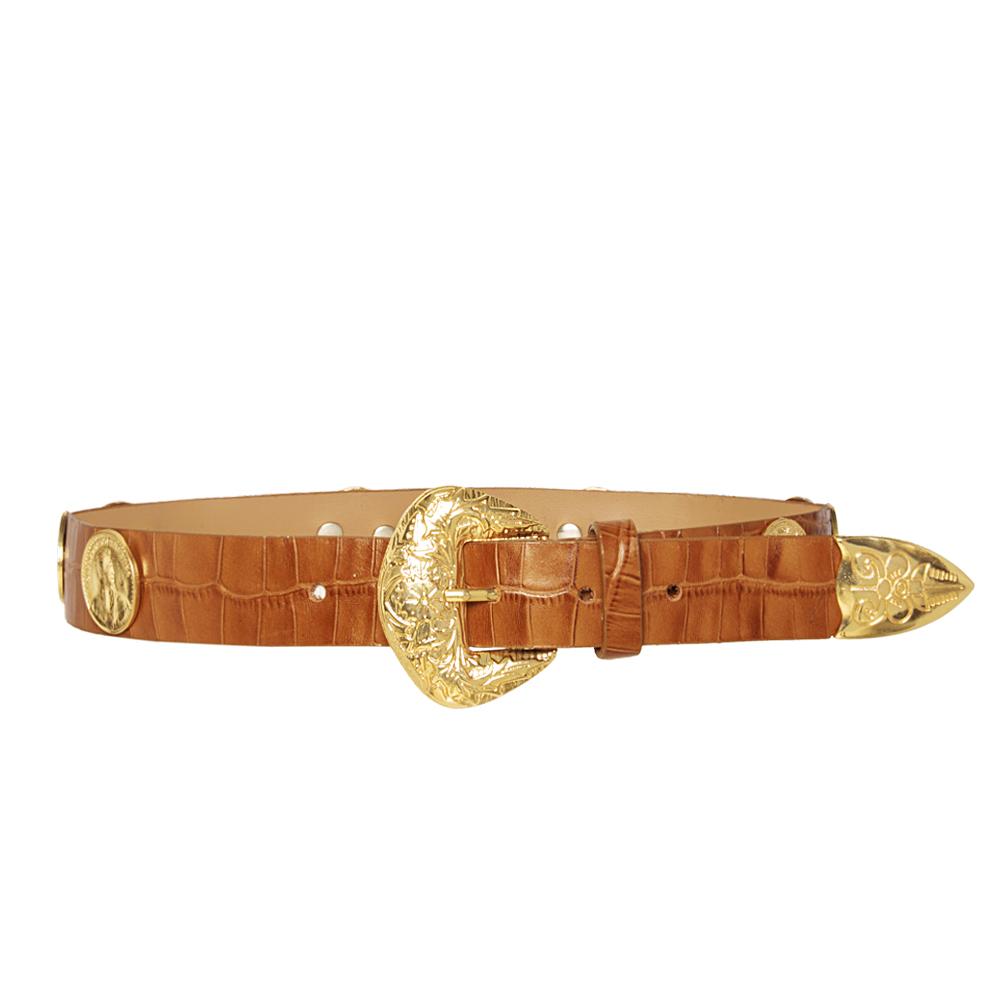 Lançamento - Cinto de Couro com  apliques dourado  de medalha   - 3cm - Feminino
