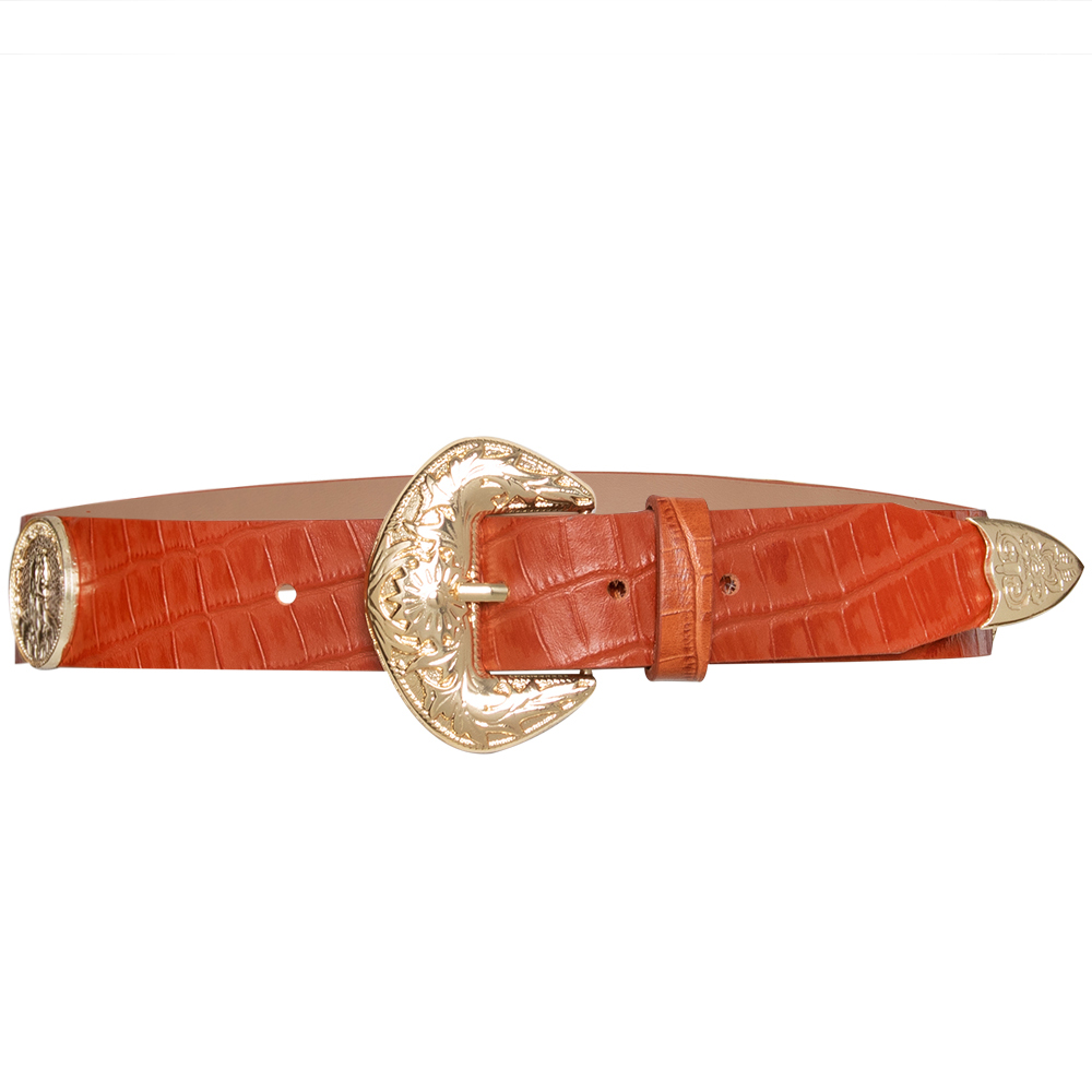 Lançamento - Cinto de Couro laranja  com apliques dourado de medalha Trend  - 3,5cm - Feminino
